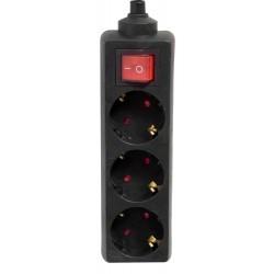 Bloco 3 x 16 A com interruptor - 3 m - Preto (SCH)